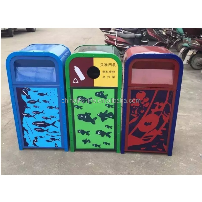 Wall Mount Standing Trash Can,Squared Outdoor Garbage Bin With Cartoon Images for School Recycling