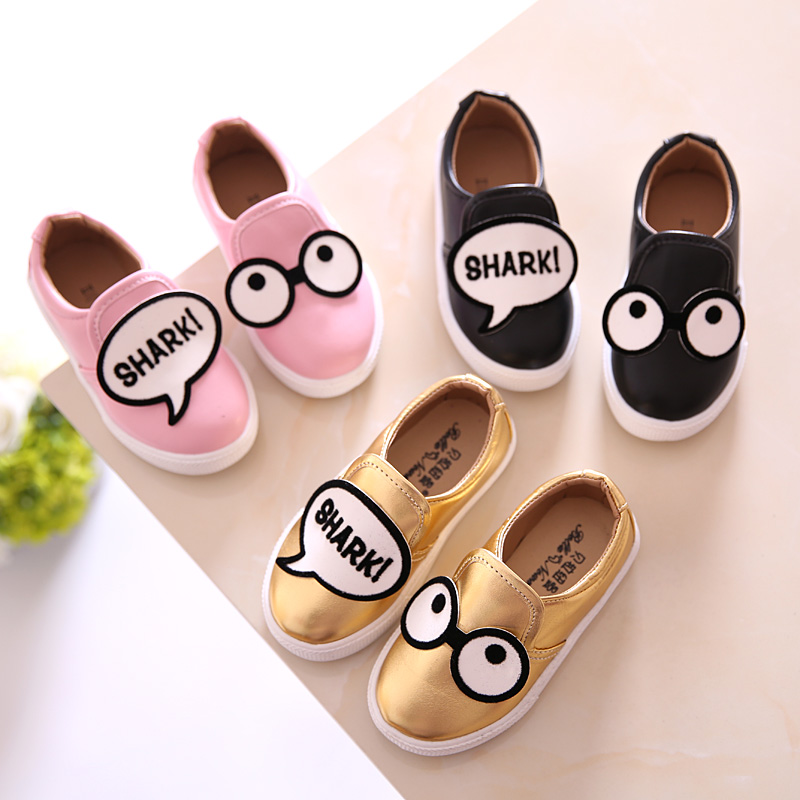 2016 New Spring Fashion Cartoon Boys and Girls Shoes Breathable Cute Eyes Kids Shoes Flats Casual Lazy Shoes Size 13.5-18.5cm