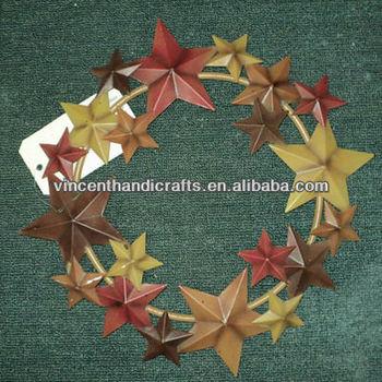 Hanging Decoration Antique Metal Barn Star Wreath For Garden Or Door ...