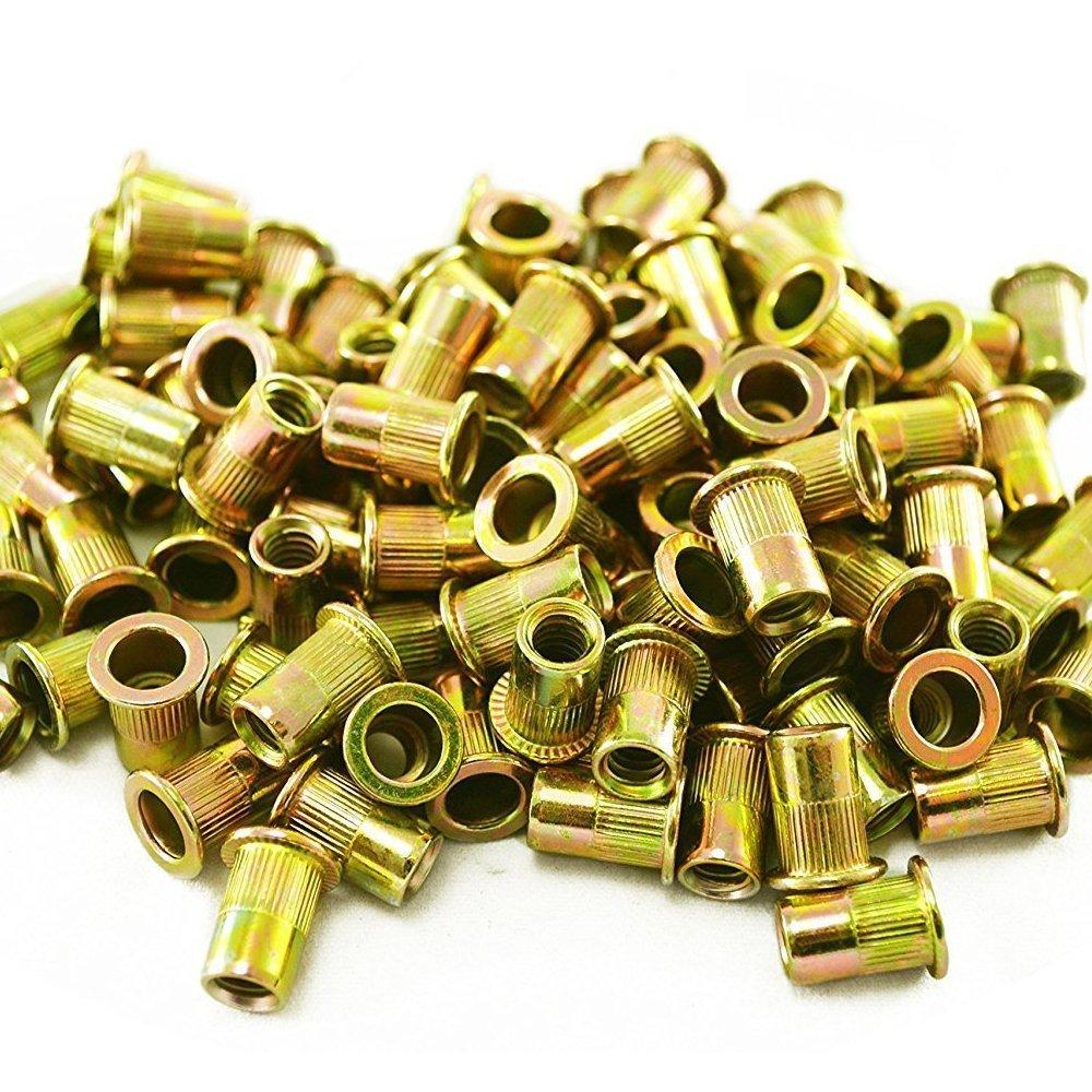 HIFROM 100pcs Zinc Plated Carbon Steel Rivet Nut Insert Flat Head Threaded Nuts 1/4-20UNC