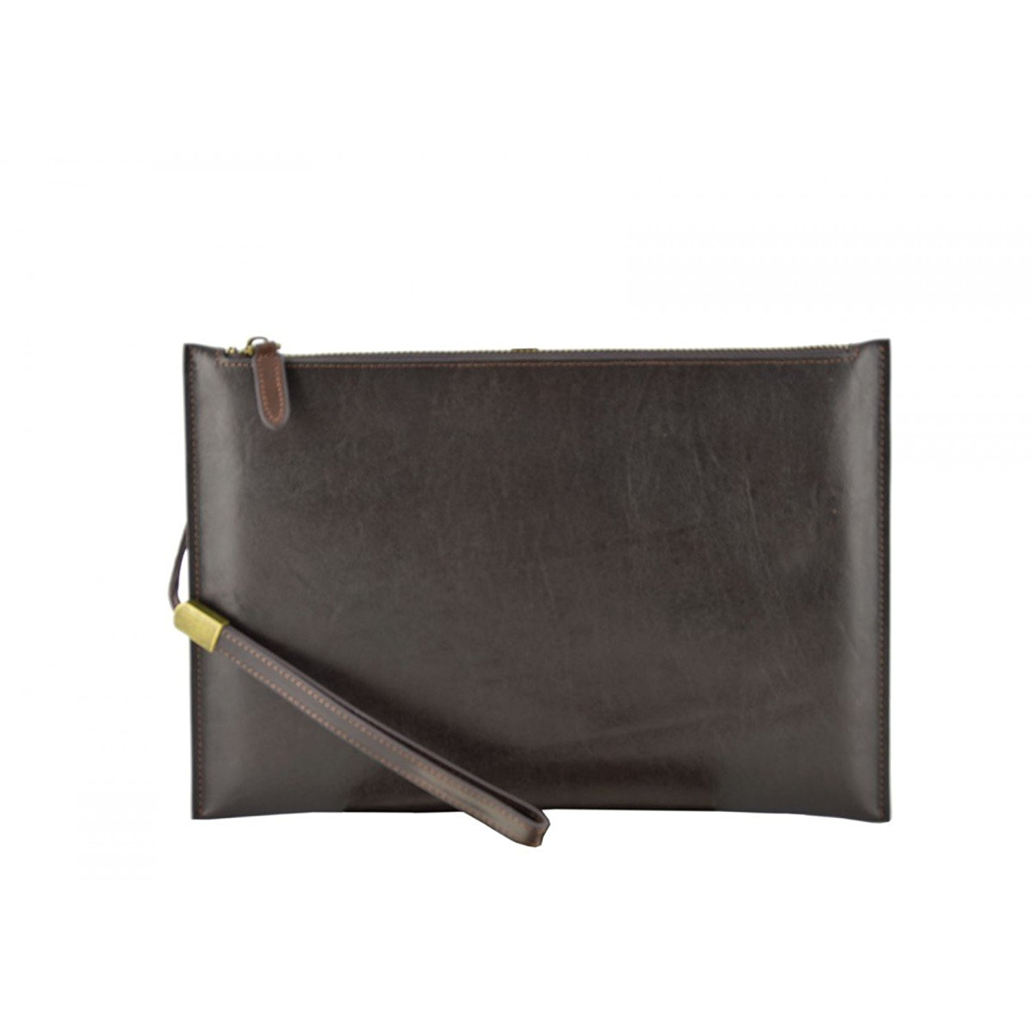 Dream Leather Bags Made in Italy Genuine Leather Genuine Leather Clutch Color Dark Brown