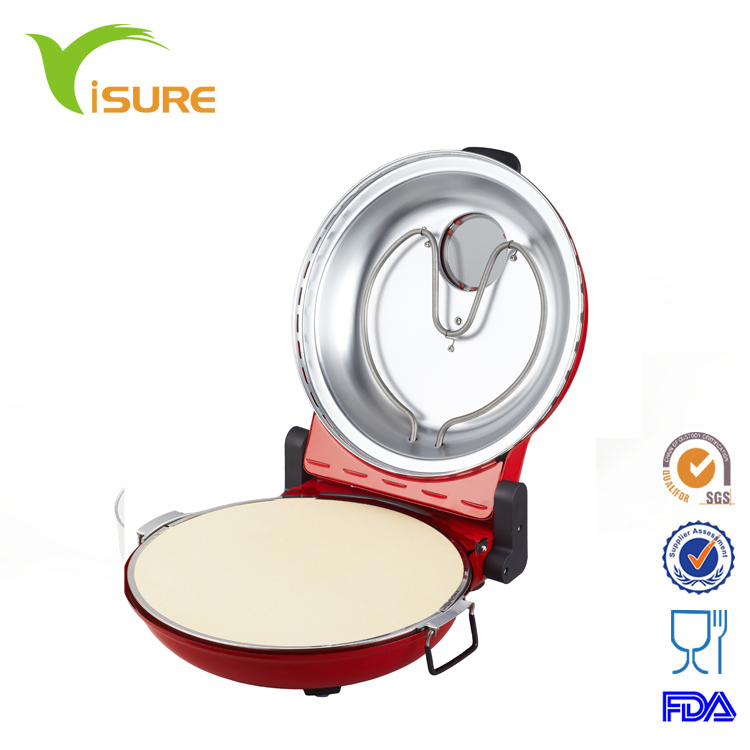 View Window Cooking In 5 minutes, Timer, Ceramic Plate Restaurant Electric Pizza Oven Maker Machine
