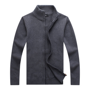 Men's Cardigan Sweater Knitwear Zipper Stand Collar Large Size Casual Black Sweater Jacket