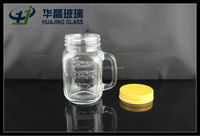 450ml 16oz clear drinking glass with handle and lid wholesale