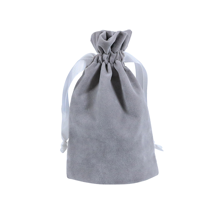 Brand Jewelry Packaging Gift Pouch Velvet Drawstring Bag With Ribbon String Hot Stamping Logo