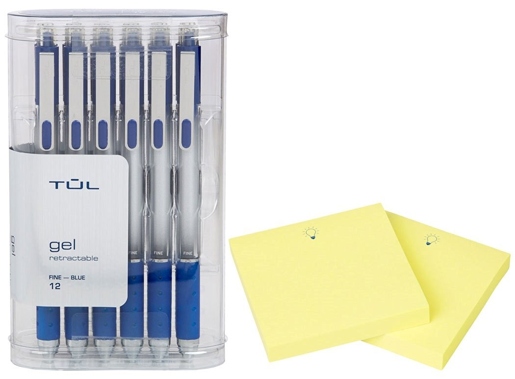 """TUL Retractable Gel Pens 0.5mm Fine Point, Blue 12/pk + """"IdeaPad"""" Post-It Notes (200-ct) Bundle"""