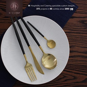 Gold Black Handle Gold Flatware Wholesale Reasonable Price For Restaurant