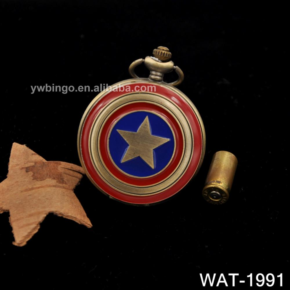 Captain America Icon Pendant Necklace Chain Quartz Pocket Watch