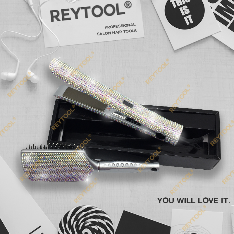 Flat Iron Bling Bling Crystal Hair Straightener Gorgeous Design Professional 470F Salon Use