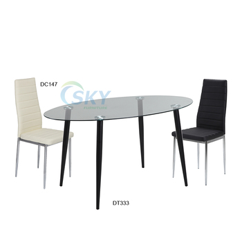 Oval Tempered Glass Dining Table Low Price Metal Tube Chair