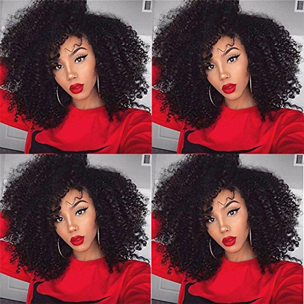 "4B 4C Curly Human Hair ExtensionsVirgin Mongolian Afro Kinky Curly Clip Ins Natural Black 7 Pcs/Set, 14""(120g/set)"