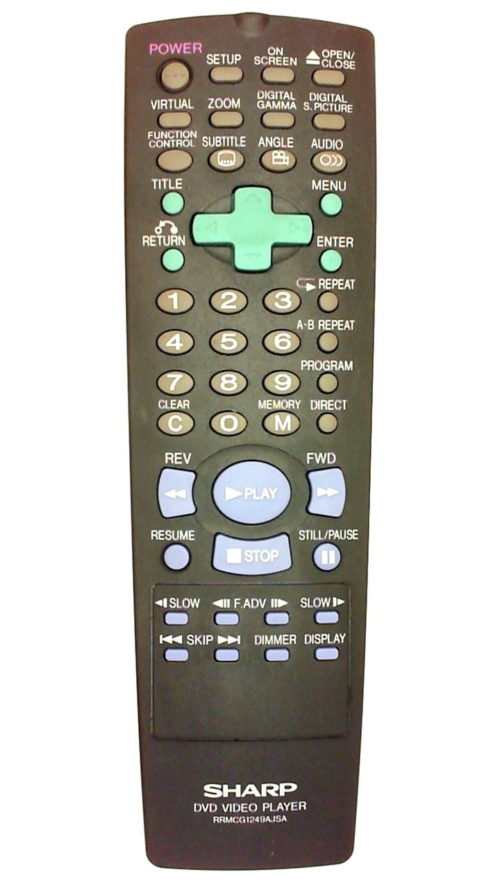 Sharp Remotes for DVD-VCR-TV-Audio-Stereo and or Compact Disc Systems (SHARP RRMCG1249AJSA)