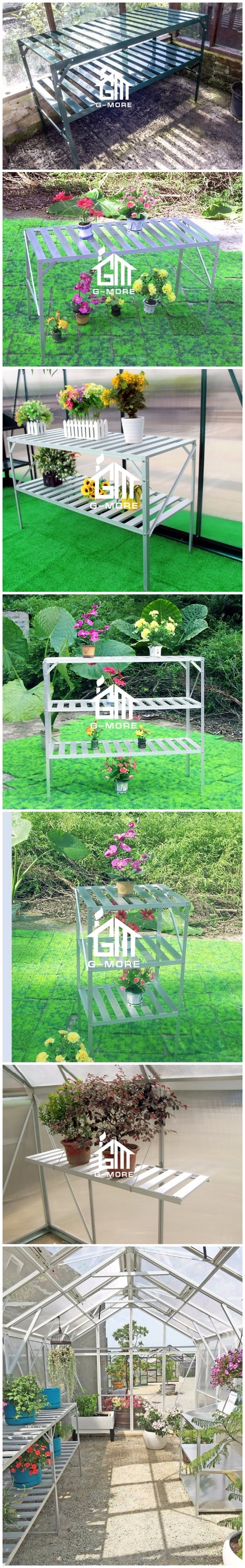 G-MORE Multifunctional Practical Greenhouse Tool Bench / Aluminum Table Greenhouse Parts 2 Tier