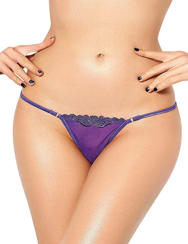 Zerolove Plus Size Lace G-String Sexy Lingerie T-Back Thongs Panties Purple