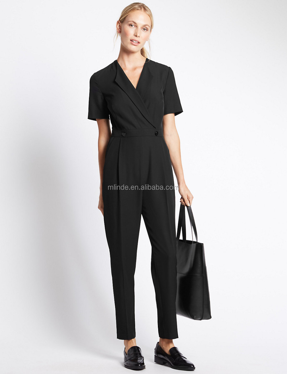 Cheap Wholesale Adult Women Formal Flip Back Short Sleeve Jumpsuits Deep V  neck Sexy Ladies Jumpsuits Office Formal Clothing 2c36a79a5b5a