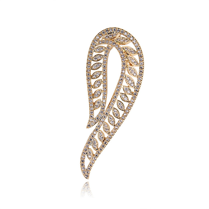 SJ Fashion Design SJBBR068 Trendy Women Brass Real Gold Plated High Polish Synthetic Diamond Brooch Pin for Lady