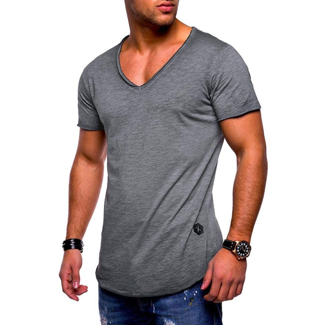 WuyiM® Hot Sale! T-Shirt, Men Tee Slim Fit V Neck Short Sleeve Muscle Cotton Casual Tops Blouse Shirts