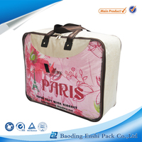 Soft OEM plastic pvc women quilt storage packing bag with handle zipper