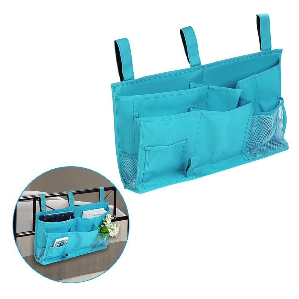 Bedside Hanging Home Caddy Organizer Multifunctional Storage Bag with Velcro Strap for Books, Phones, Tablets, Accessory and TV Remote- Best for Headboards, Bed Rails, Dorm, Bunk Beds (Blue)