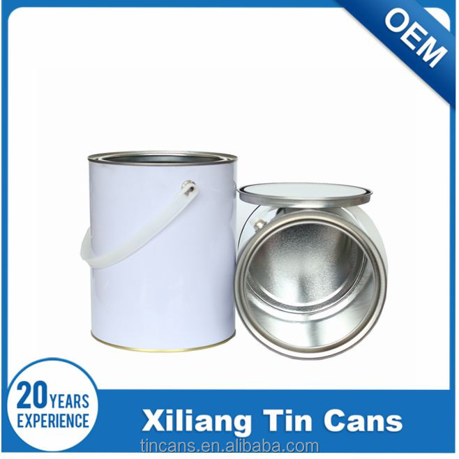 3.7 liter/ 1 gallon white coating mental tins paint can with plastic handle