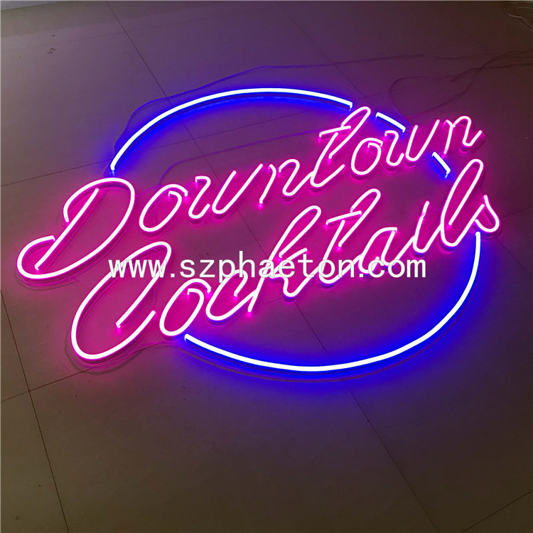 Electronic led neon sign letters decorative custom flexible neon sign with acrylic perspex board backing