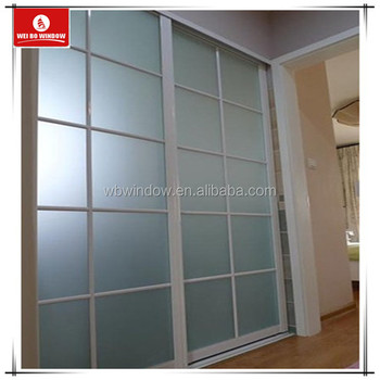 Interior Design Frosted Glass Pvc Bathroom Sliding Door With Grid