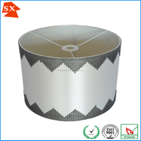 Modern round white satin fabric diamante sequin banded edge lamp shade