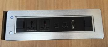 Multi media conference room equipment tabletop power outlet