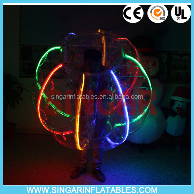 Promotion top quality LED glow human inflatable bumper bubble ball giant bubble ball inflatable belly bumper ball cheap buy