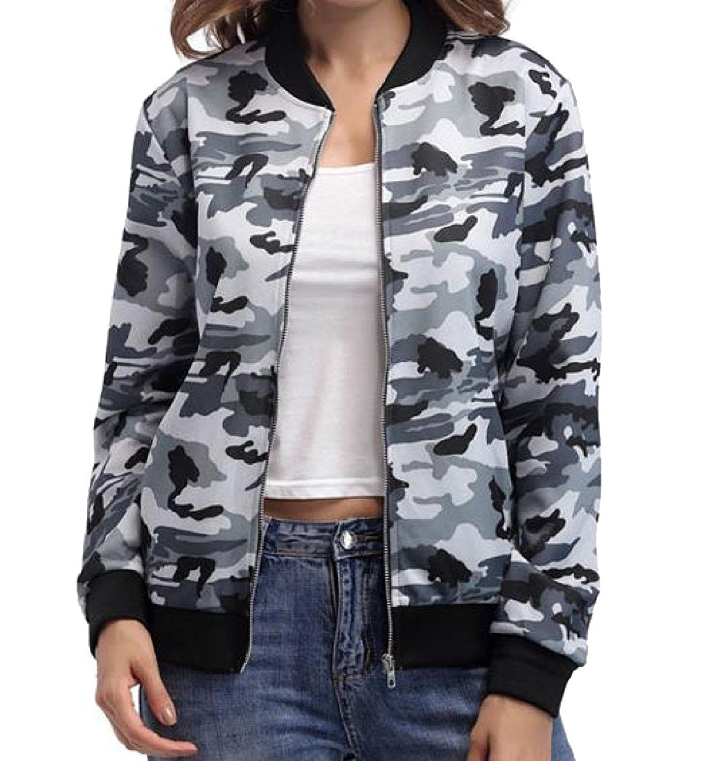 Sheng Xi Women Stitching Camouflage Stand Collar Outerwears Jackets