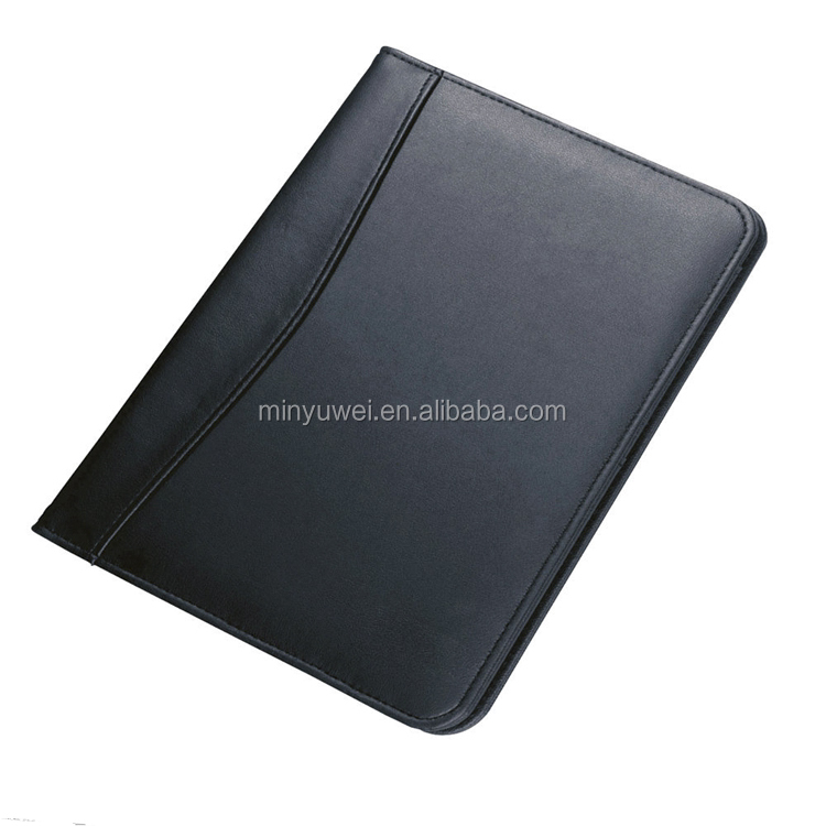 A5 Black Unzipped PU Leather Conference Folder Portfolio W// Slots Free Notepad