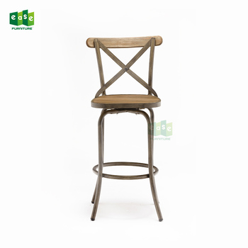 Snack Wooden Bar Chair Vintage Teak Wood Synthetic Wood High Seat Bar Chair For Pub Bistro Kitchen