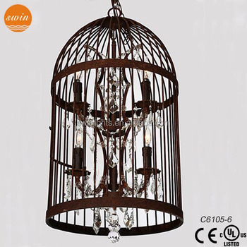 Vintage industrial pendant lighting bird cage light c6105 6crystal vintage industrial pendant lighting bird cage light c6105 6crystal chandelier zhongshan lighting mozeypictures Image collections