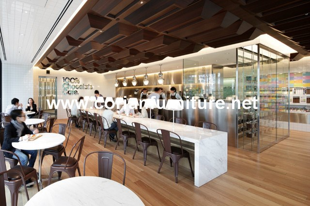 Lovely Site Match Solid Wood Stone Top Restaurant Long Bar Table