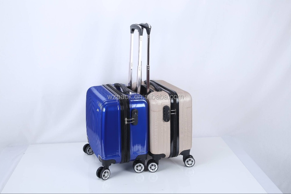 Hot Sales ABS+PC Hard Luggage Cabine Size Trolley Spinner Suitcase Press Resistence Bank Promotion Item with code lock 18 inch