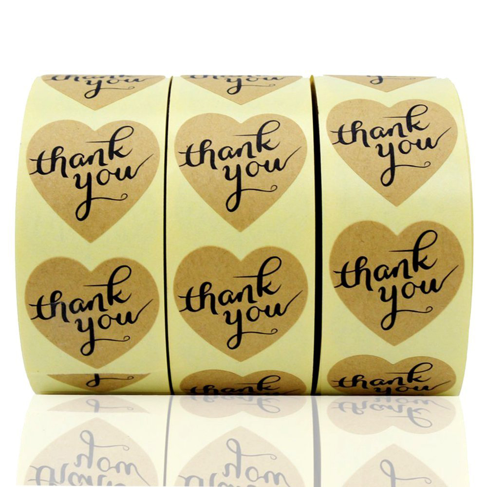 "1.5"" Heart-Shaped Thank You Sticker Craft Paper Thank You Label, 1500 Adhesive Labels, Decorative Sealing Stickers"