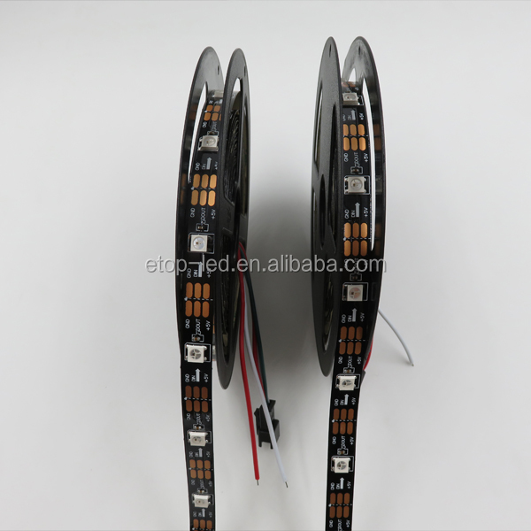DC5V Black PCB Digital Programmable Addressable ws2812b RGB Led Flexible Strip with 30led 60led