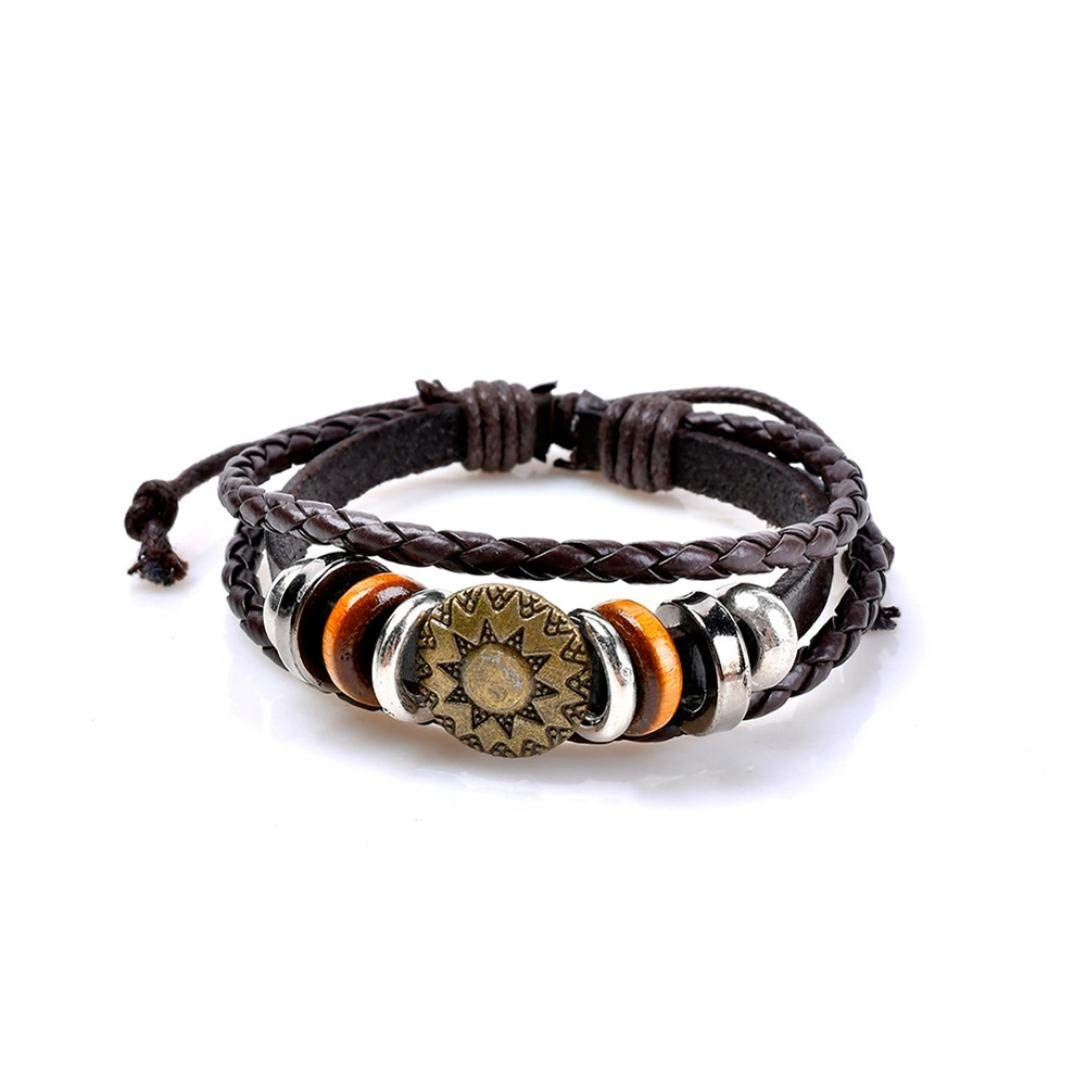 JSPOYOU Promotions! Womens PU Woven Bracelet Multilayer Handmade Wristband Leather Bracelet Bangle
