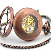 Silver Epoxy carved 212 hollow retro clamshell mechanical pocket watch for men/ women students souvenir Watch