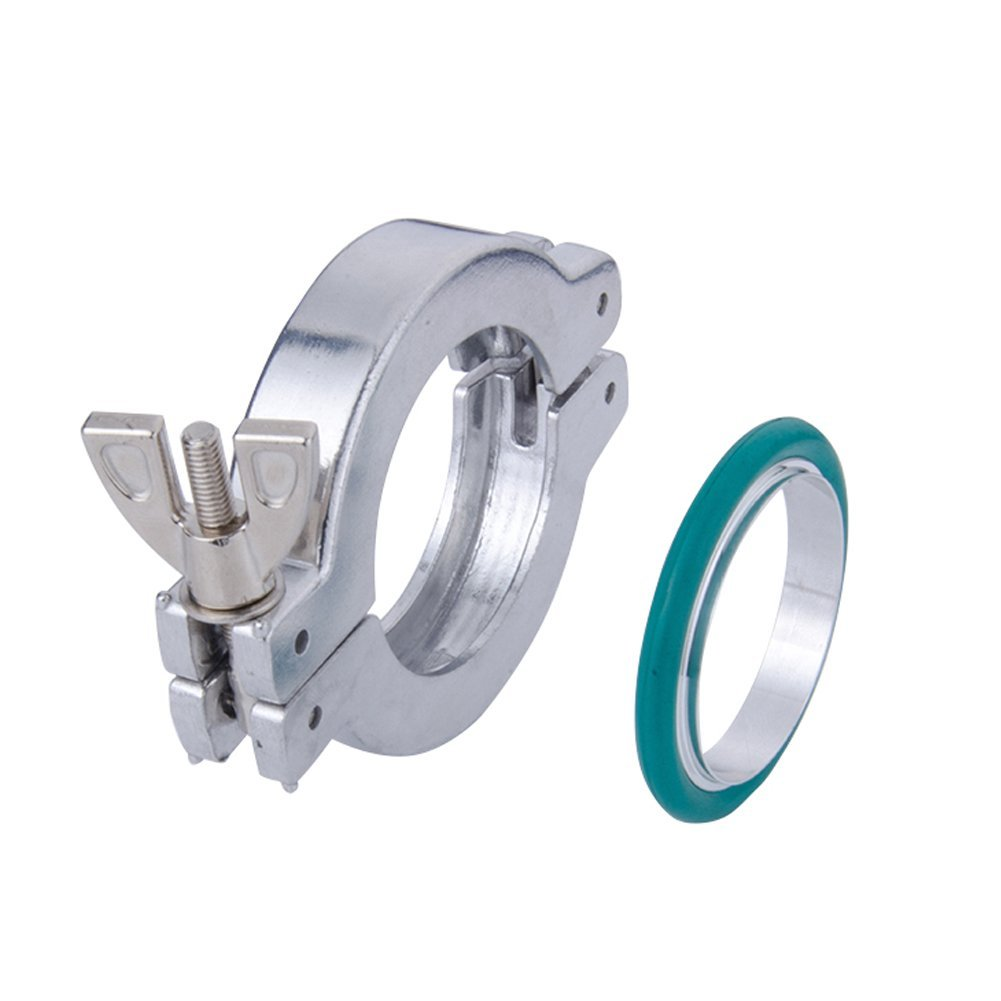 Set of 1 NW/KF-40 Aluminum Vacuum Clamps + Aluminum Centering O-rings with FKM/Viton Seal , Vacuum Part