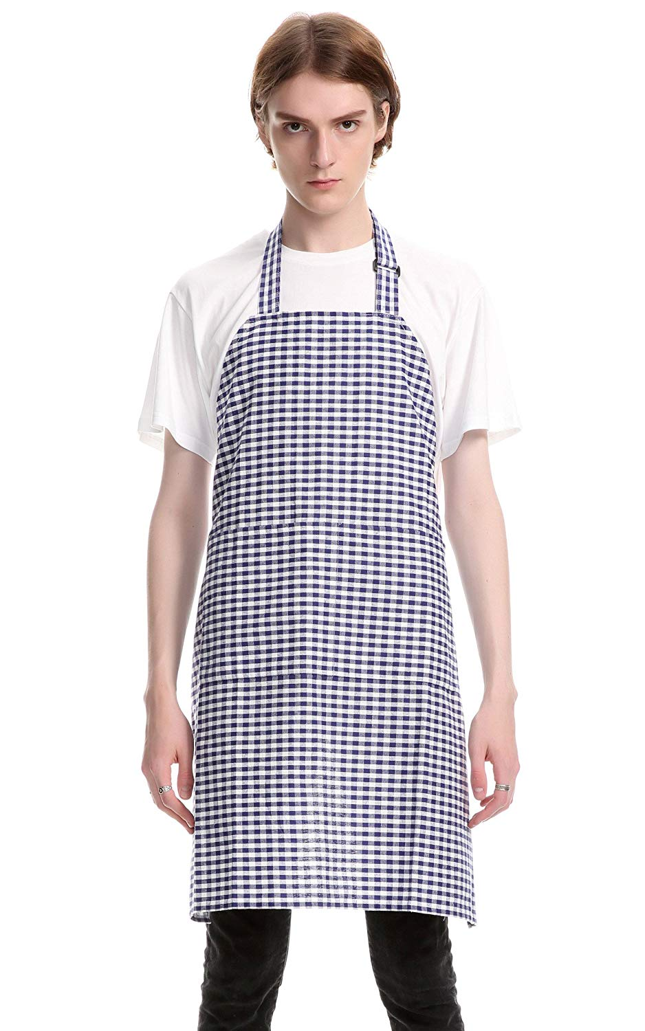 Vintage Gingham Kitchen Aprons Chef Bib Canvas Aprons Christmas Holiday Home Decorative 100% Pure Cotton Aprons in Large Size with Pockets with Pockets by Jennice House(Navy)