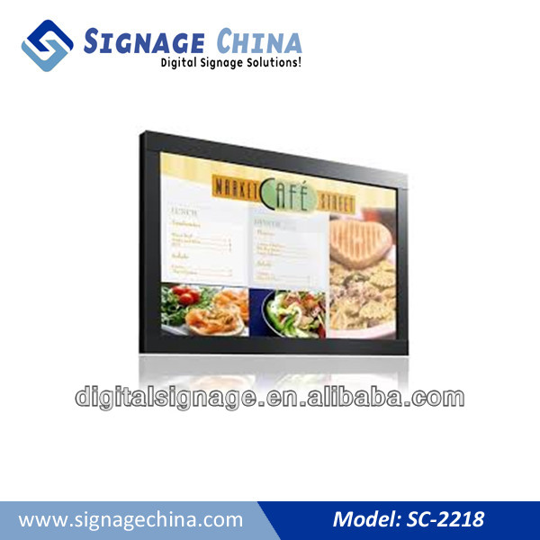 22'' Digital Signage Wall Mounted LCD Kiosk for Advertising with Unique High Definition Decoding Capability