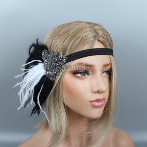 New Design Black Crystal Rhinestone headband wedding hair accessories princess Feather Handmade Bridal Headpiece