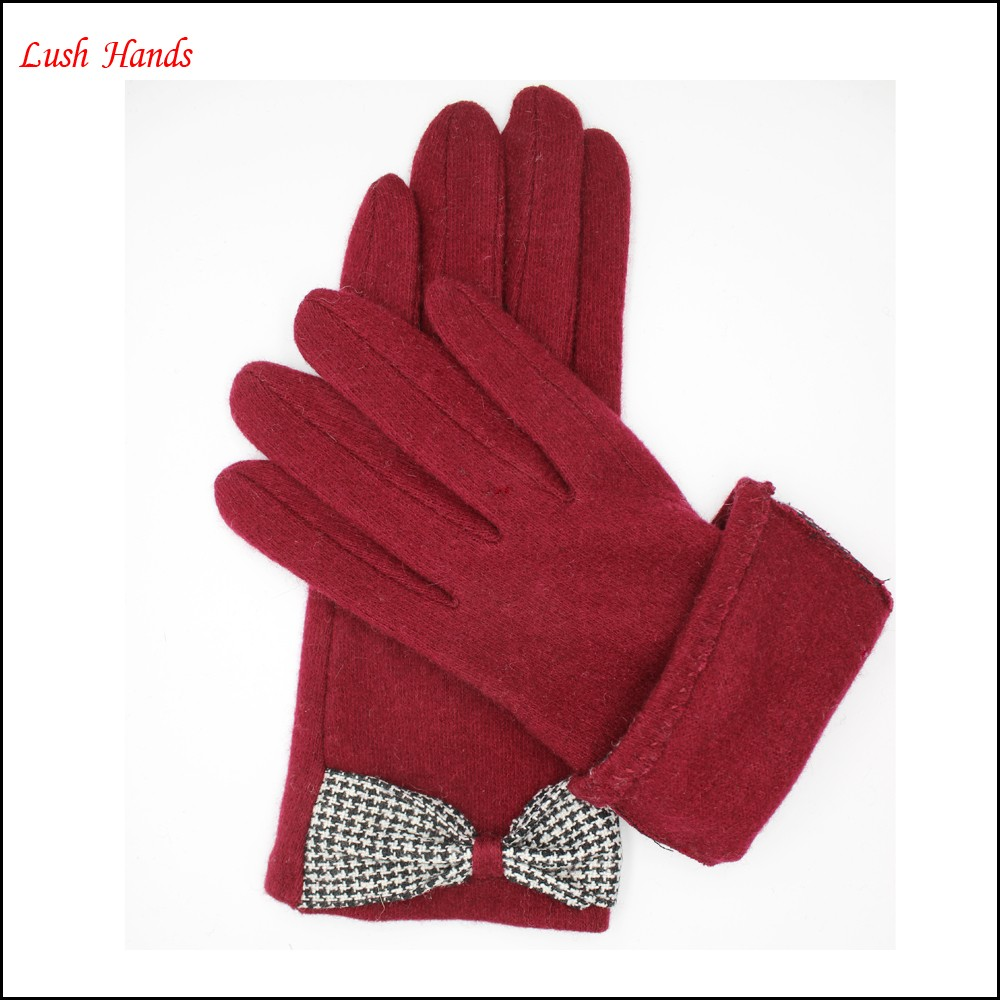 Lady's red woolen warm gloves with supersoft polyester lining