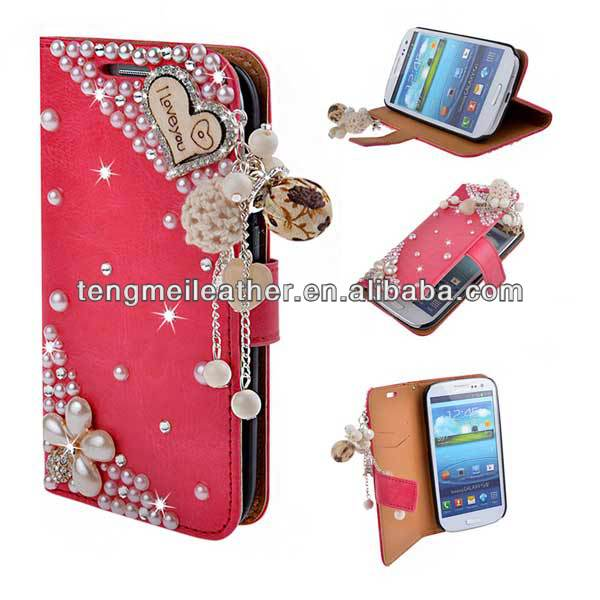 Cute Crystal jewel Leather Wallet Bling Case Cover for Samsung S4 i9500, Decorative Case For Samsung S4