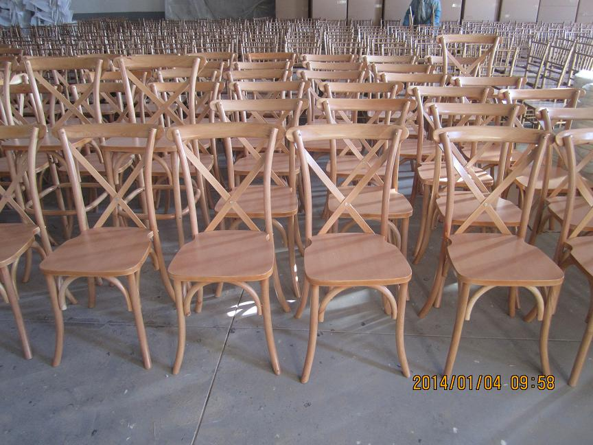 French Style Stacking Cross Back Oak Wood Restaurant Chairs For Sale Used