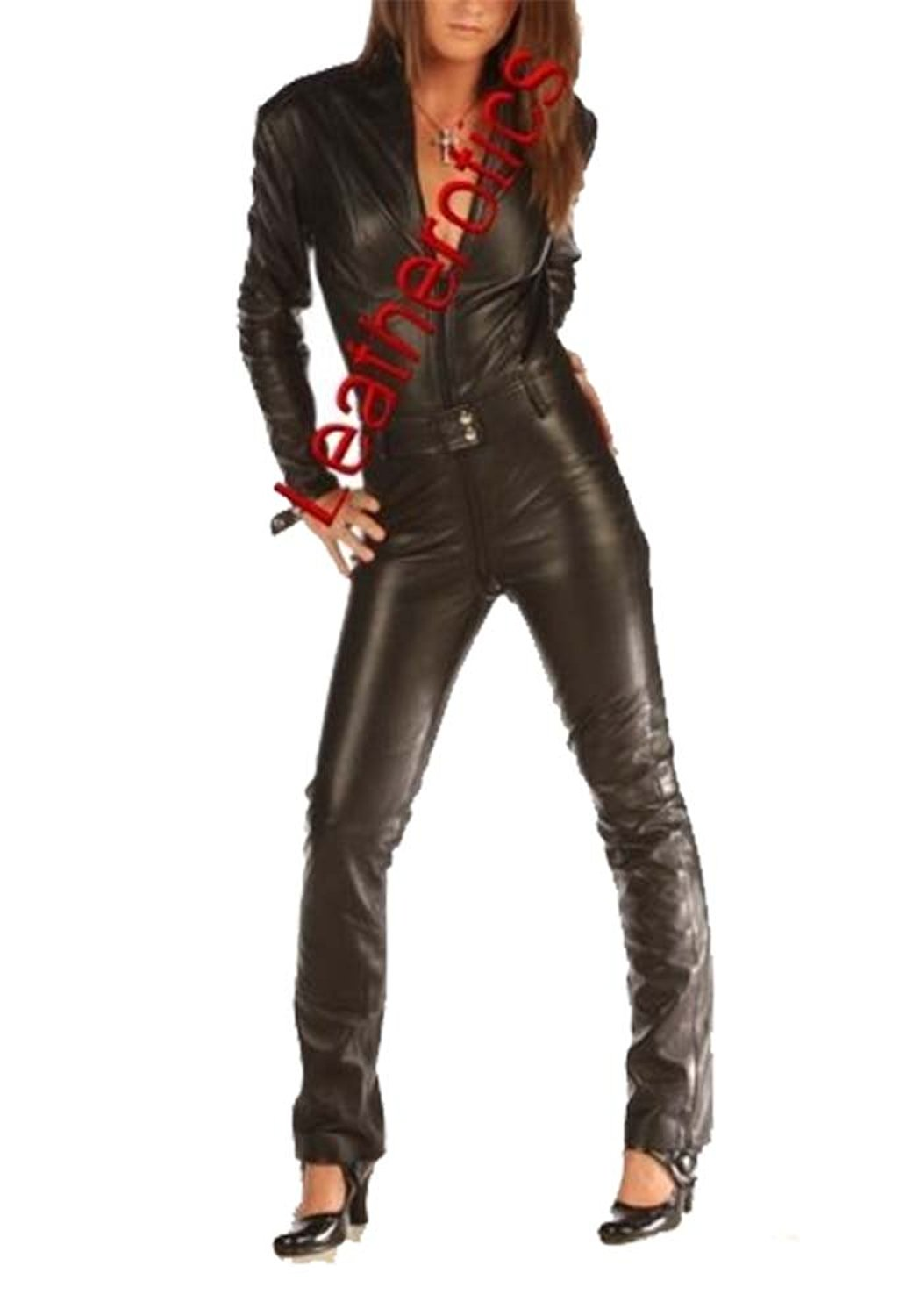 e351412ebf7 Get Quotations · Leatherotics Skin Tight Suit Black Leather Catsuit Jumpsuit  Tight 1235