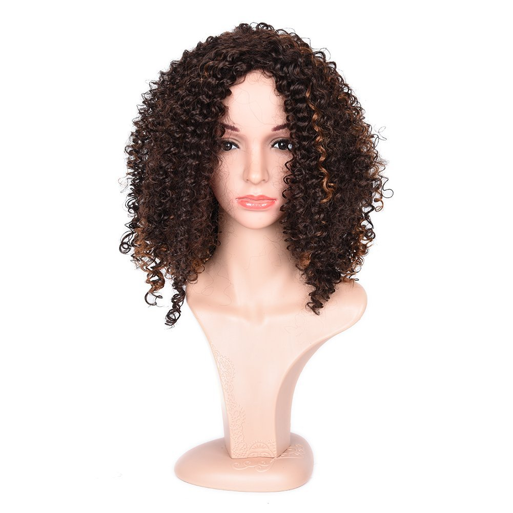 Synthetic Afro Curly Hair Wigs Curly Wigs for Women Cosplay Wig Kinky Curly Brown Blonde Mixed Wig Short Curly Wigs for Black Women(Brown)