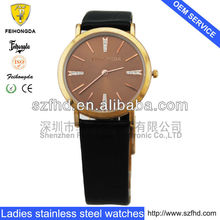 Black & coppery colors genuine leather watch strap Ladies Big Fashion