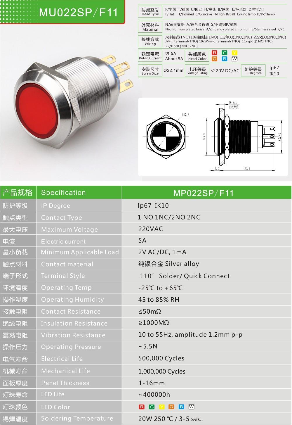 Cmp 22mm Metall/kunststoff Bi- Farbe Beleuchteten Schalter Mit On ...